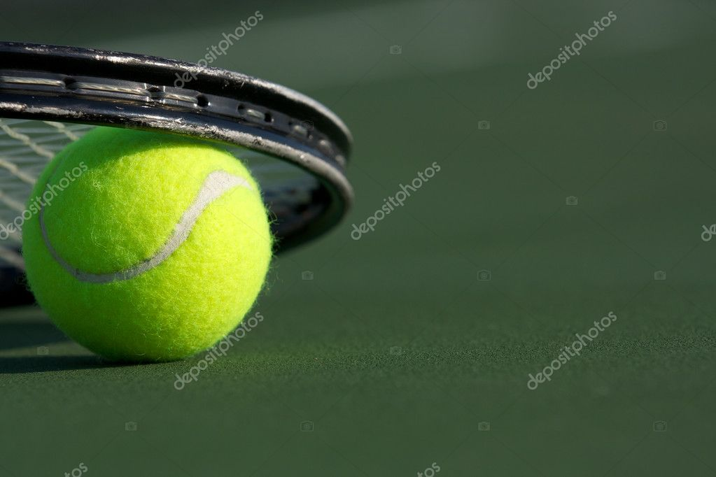 Tennis Ball and Racket on the Court with room for copy — Stock Photo #6839208