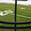 View of the Football Field from within the helmet — Stock Photo