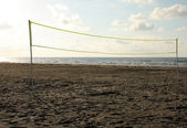 Volleyball Net on a Beach — 图库照片