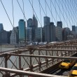 Royalty-Free Stock Photo: Taxis and Traffic Across Brooklyn Bridge