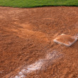 Stock Photo: Baseball slide marks into Third