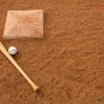 Baseball & Bat near Second Base — Stock Photo