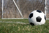 Soccer Ball near the Goal — Stok fotoğraf