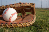 Baseball in a Glove — Stock Photo