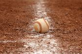 Baseball on the Chalk Line — Stock Photo