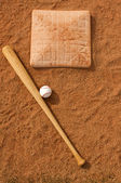 Baseball & Bat near the base — Stock Photo