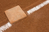Third Base with Chalk Line — Stock Photo