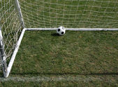 Soccer Ball in the Goal — Stock Photo