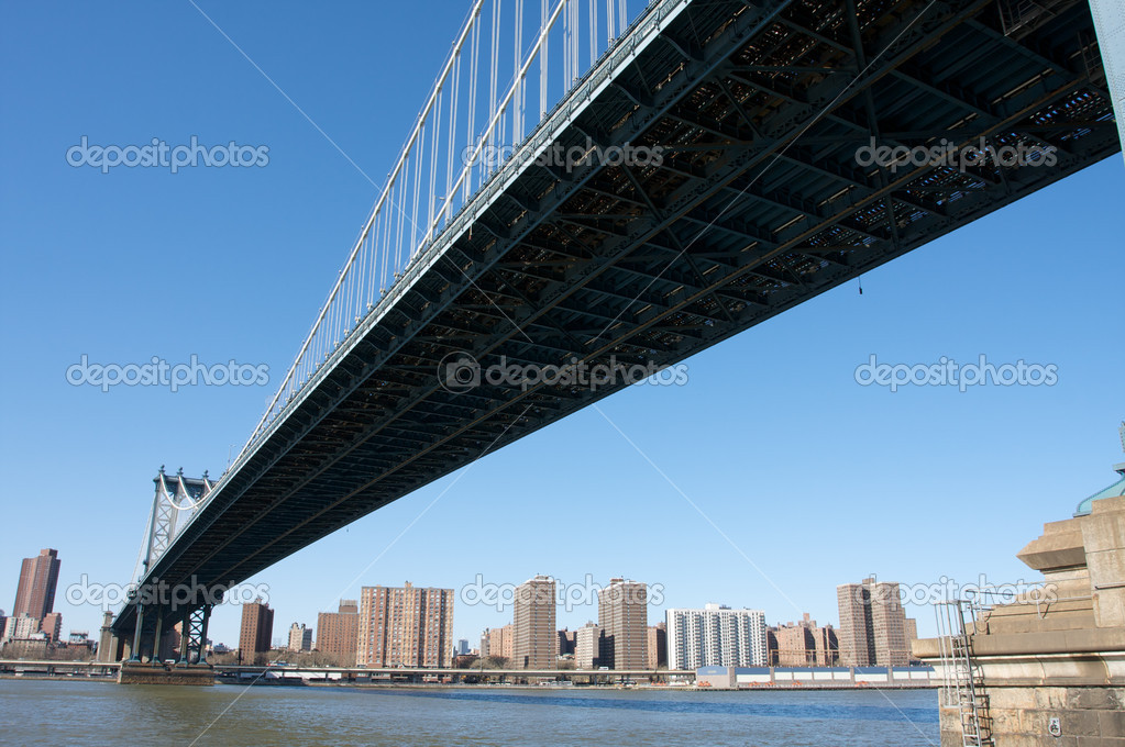 Underside View of Manhattan Bridge  Stock Photo #6923862
