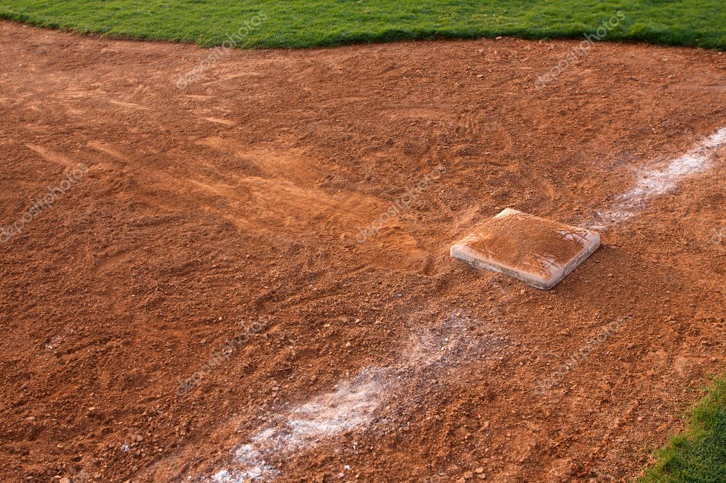 Baseball Slide marks into Third Base — Stock Photo #6924180