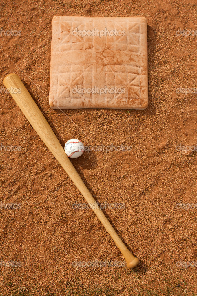 Baseball & Bat near the base with copy space — Stock Photo #6926269