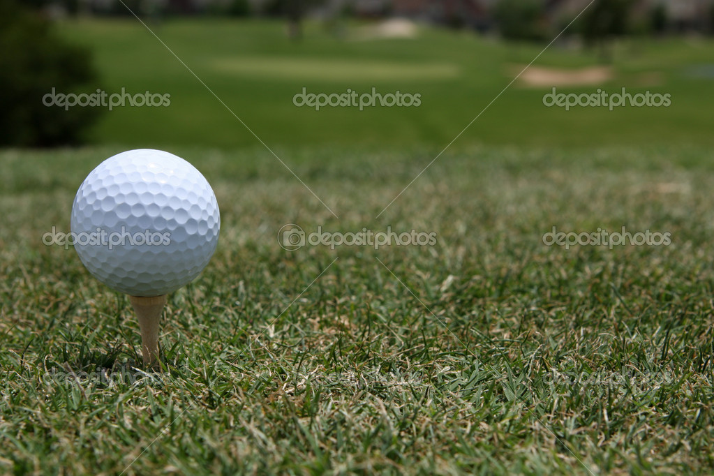 Golf Ball Teed Up with Course Beyond — 图库照片 #6926276