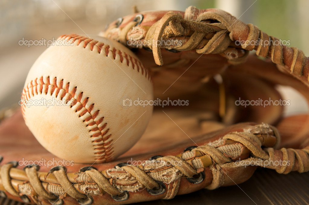 Baseball close up in a Glove  Stock Photo #6926345