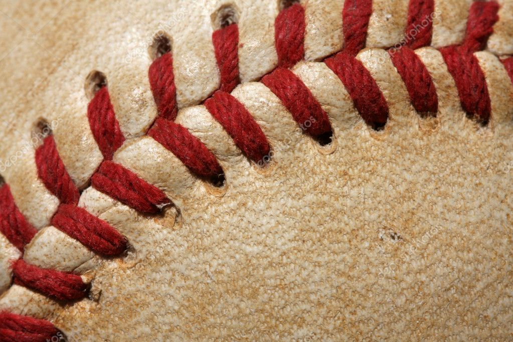 Close up of a baseball threads — Stock Photo #6926349
