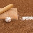 Baseball and Bat near the Base — Stock Photo