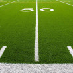American Football Field Fifty Yard Line — Stock Photo