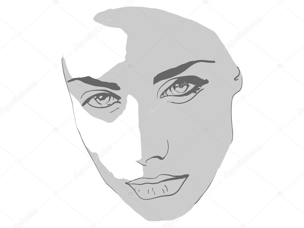 Fashionable face beautiful girl, piercing gaze vector — Stock Vector #6919411