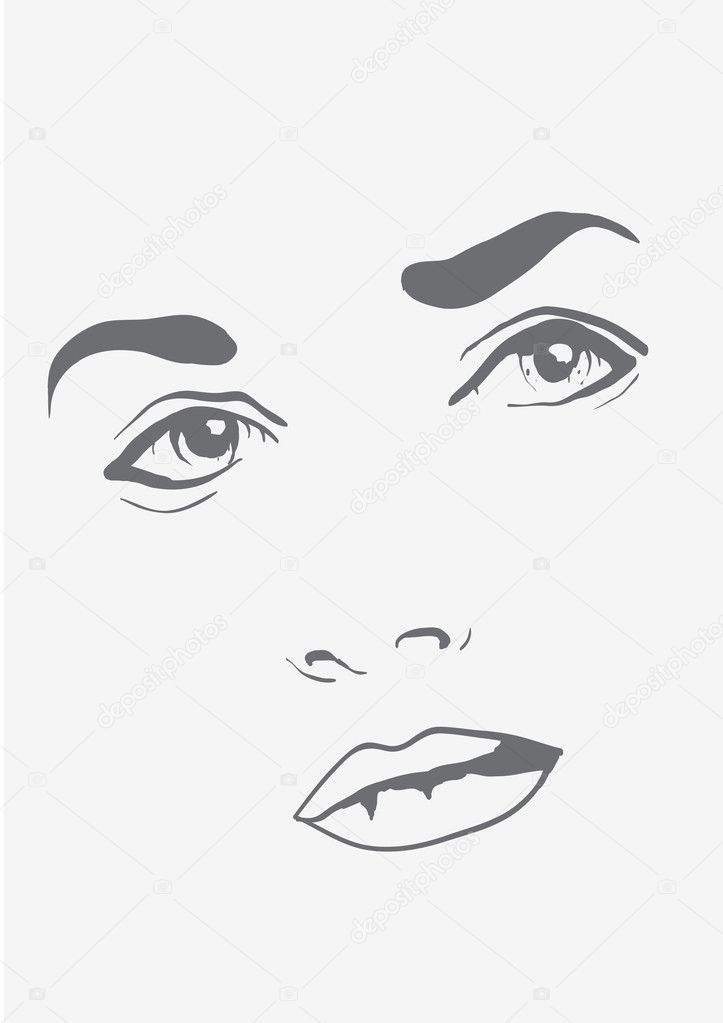 Fashionable face beautiful girl, piercing gaze vector — Stock Vector #6919422
