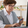 Senior woman on computer — Stock Photo