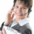 Call center woman with headset — Stockfoto