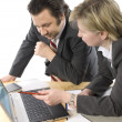 Two businesspeople working at office — Stock Photo