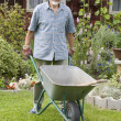 Senior with barrow in garden — Stock Photo #6844184