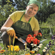 Happy woman with flowers in her garden — Stock Photo