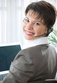 Call center woman with headset — Stock Photo