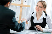 Handshake while job interviewing — Stockfoto