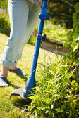 Woman with lawn mower in front of back yard — Stock Photo