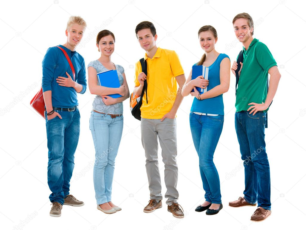 Happy smiling students standing together stock photo 169 alexraths