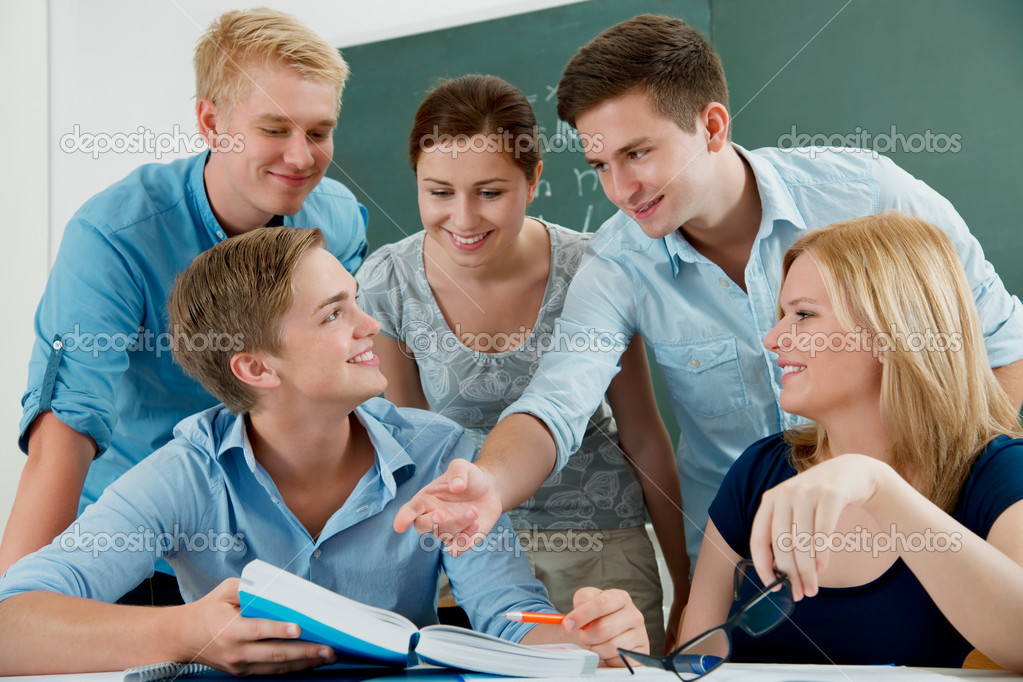 Group of students  studying together in the classroom  — Stock Photo #6843327