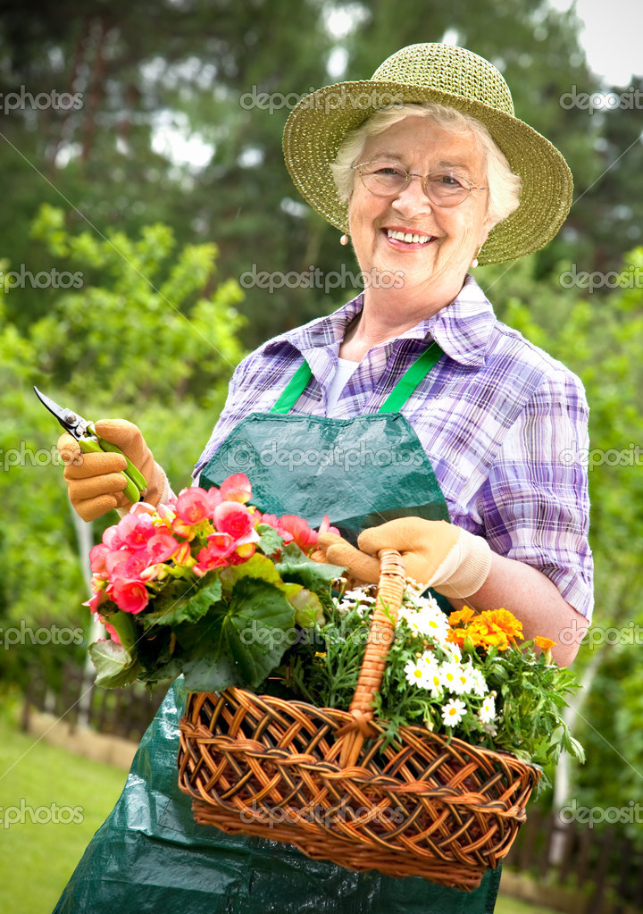 Portrait of pretty senior woman gardening  — Stock Photo #6844786