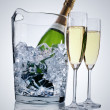 Champagne in ice cooler - Stock Photo