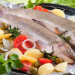 grilling fish — Stock Photo