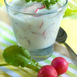 Buttermilk-drink with radish and parsley - ストック写真