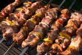 Kabobs grilled with vegetables on skewers — Stock Photo