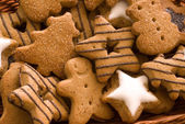 Spice cookies as christmas background — Stock Photo