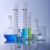 Research lab assorted glassware — Stockfoto