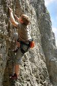 Climber on the rock — Stock Photo
