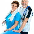 Coppia senior in palestra — Foto Stock