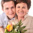 Woman receives a bunch of flower — Stock Photo