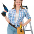 Carpenter woman — Stock Photo