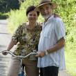 Stock Photo: Senior couple bicycling