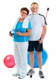 Starszy para w siłowni — Zdjęcie stockowe