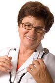 Portret lekarza kobieta uśmiechający się — Zdjęcie stockowe