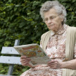 Old woman reading newspaper — Stock Photo #6870476