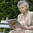 Old womreading newspaper — Stock Photo #6870476