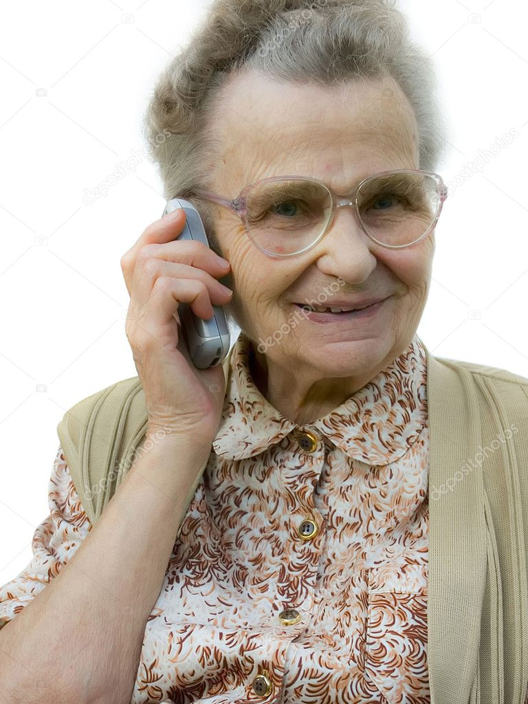 Senior  woman using telephone — Stock Photo #6870375