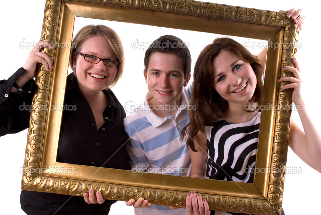 Three teenagers in a antique painting frame  — Stock Photo #6871354